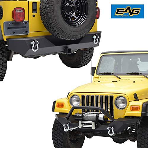 EAG Black Steel Front Bumper and Rear Bumper Combo