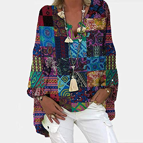 Summer T-Shirts, Fashion New Trend Fashion Trend Fashion New Trend Casual Bohemian Print Long-Sleeved v-Neck Loose Top(Multicolor_39,S