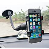 KitMax (TM) Auto Vehicle Long Arm 360 Degree Rotation Universal Handheld GPS Device Navigation Maps System Car Mount Mobile Cell Phone Holder for Samsung Galaxy iPhone