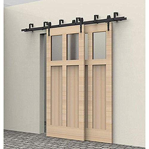 Hahaemall Antique Arrow Style Interior Steel Sliding Bypass Double Barn Door Hardware Track Roller Black Heavy Hanging System (13FT / Bypass Kit)
