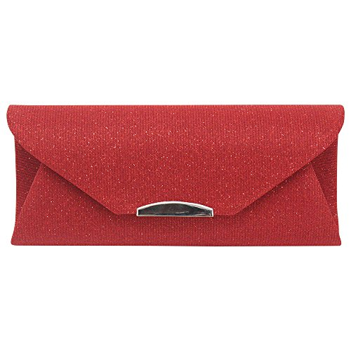 Chain Shoulder Trim Clutch Silver Red Ladies Evening Bag Handbag Purse Envelope Wiwsi Women xAzqwgnf