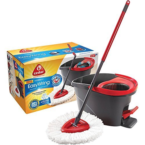 O-Cedar Microfiber EasyWring Spin Mop & Bucket System with Built-in wringer and high-quality foot pedal and , 3 pc