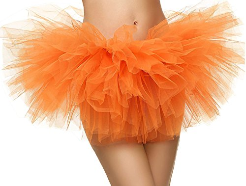 Women Tutu 5 Layers Tulle Tutu Costume Dance Ballerina Skirt,Orange (Homemade Halloween Ballerina Costume)