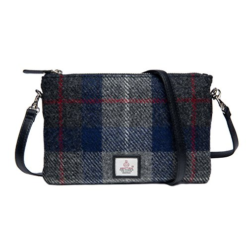 Harris Tweed Zip Purse Bag Blue Check