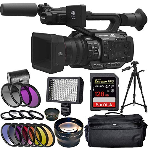 (Panasonic AG-UX180 4K Premium Professional Camcorder with SanDisk Extreme Pro 128GB SDXC UHS-I Card and 160 LED Camera/Video Light + More)