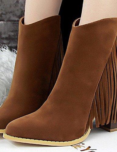 A Uk6 Mujer Hueso Exterior Bermellón Terciopelo Cn39 Caqui Casual Burgundy Xzz us8 La Brown Robusto Negro De Zapatos Marrón Moda Botas Tacón us8 Eu39 YACqRwSx