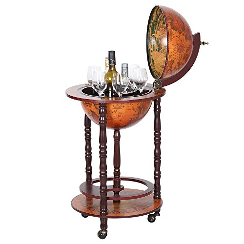 NEX Globe Wine Bar Stand 16th Century Italian Wine Cabinet Wood (NX-JG33001R) by NEX