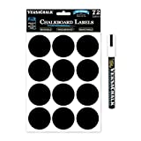 Black Vinyl Chalkboard Kitchen Pantry Labels for Canning, Mason or Spice Jars - Best Chalk Board Stickers for Liquid Chalk Ink (Round 2.5 Inches)