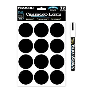 72 Round Chalkboard Mason Jar Lid Canning Labels for Food Storage, Pantry, Spice Jars & Freezer! Waterproof Black Vinyl Chalkboard Stickers are Ideal for Chalk Markers (2.0 Inches Wide)