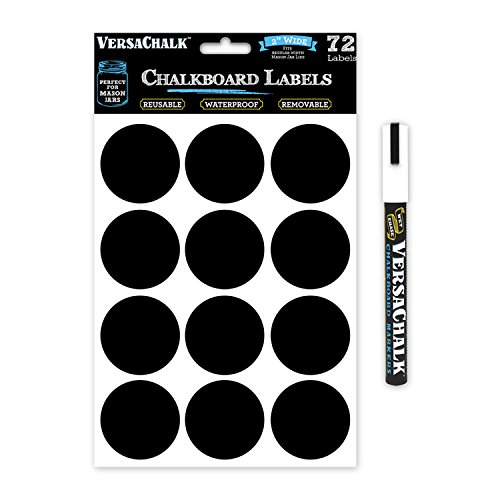 72 Round Chalkboard Stickers for Mason Jar Lid Canning Labels, Food Storage, Pantry, Spice Jars & Freezer! Waterproof Black Vinyl Chalkboard Labels are Ideal for Chalk Markers (2.0 Inches Regular)