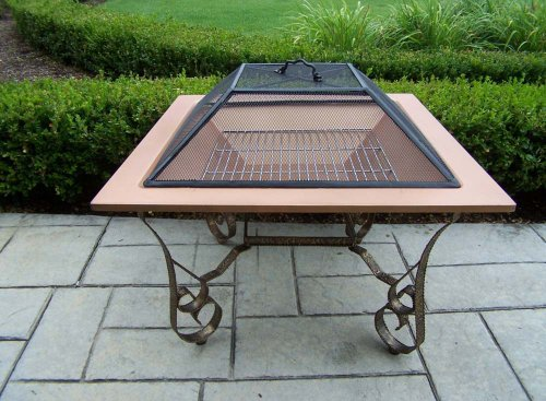 Oakland Living Victoria 33-Inch Fire Pit with Grill and Copper Bowl - Durable Cast Iron Construction Hardened Powder Coat Finish in Antique Bronze for Years of Beauty Easy to Follow Assembly Instructions and Product Care Information - patio, fire-pits-outdoor-fireplaces, outdoor-decor - 51qW3N1UgmL -