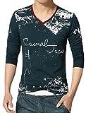 uxcell Men V Neck Novelty Prints Long Sleeves Slim Fit T-Shirt Blue M