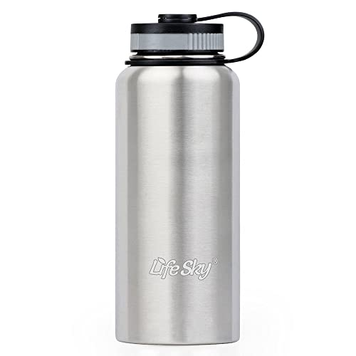 LifeSky Stainless Steel Sports Water Bottle - 950ml - Double-Wall Vacuum Insulation - Wide Mouth, Leak proof, Keep Hot or Cold More than 12 Hours - Prefect for Bike, Camping & Hiking, Gym Sports (32oz)