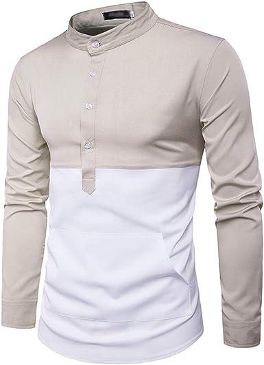 AiRobin Camisa de Manga Larga con Cuello Alto Color Block y Camisa de Manga Larga para Hombre Primavera otoño: Amazon.es: Ropa y accesorios