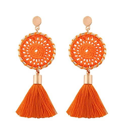 Orange Tassel (Solememo 7 Colors Handmade Bohemian Tassel Earrings Red Black Tassel Earrings for Women Vintage Ethnic Jewelry Earrings (Orange))