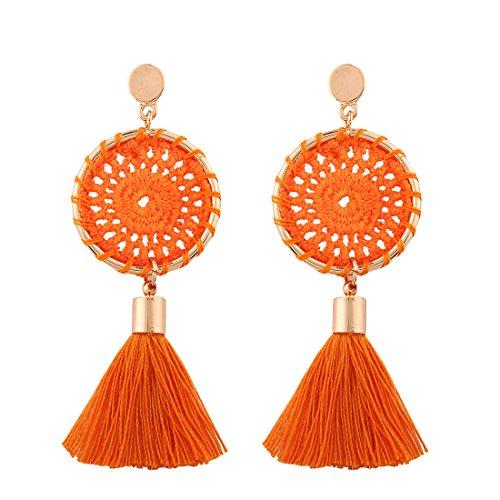Tassel Orange (Solememo 7 Colors Handmade Bohemian Tassel Earrings Red Black Tassel Earrings for Women Vintage Ethnic Jewelry Earrings (Orange))