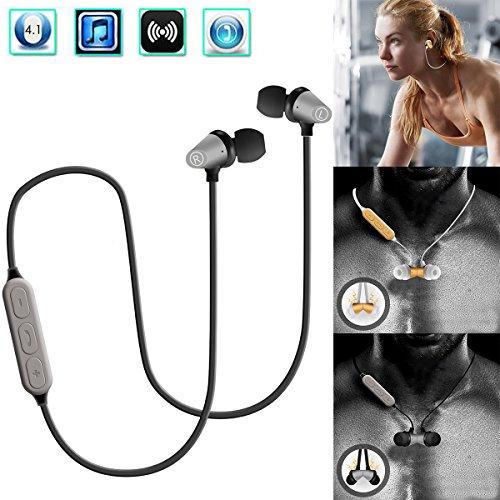 - Bluetooth Headphones, Wallfire Best Wireless Sports Earphones w/Mic 4.1 Stereo Sweatproof Earbuds for Gym Running Playtime, Magnetic Bluetooth Headset ¡