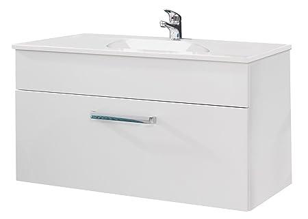 Trendteam adamo badezimmer waschbeckenunterschrank weiß hochglanz