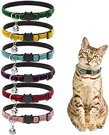 Cool Cat Collars Kitten Collar UK Made Aubergine Lilac Double Velvet Safety Release Buckle Removable Bell Extra Soft