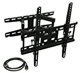 90 tv sharp - Mount-It! Articulating TV Wall Mount Corner Bracket, VESA 400 x 400 Compatible, Stable Dual Arm Full Motion, Swivel, Tilt Fits 32, 37, 40, 42, 47, 50 Inch TVs, 115 Lbs Capacity With HDMI Cable Black