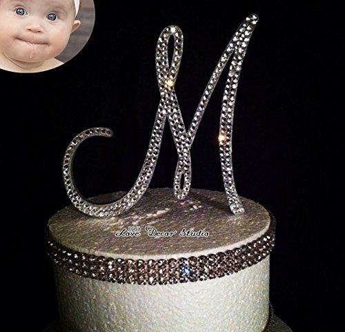 Love Decor Studio _ 1968 Monogram Wedding Cake Topper Crystal Initial Any Letter A B C D E F G H I J K L M N O P Q R S T U V W X Y Z (6 inches)