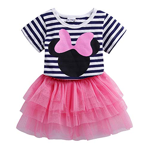 Mud Kingdom Toddler Girl Outfits 4T Pink Summer Stripe]()