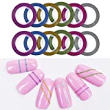 Nail Art Striping Tape, 12 Rollers Nail Decoration Line Strips 6 Colors Mixed Rolls Striping Manicure Sticker Nail Design Tips Decoration (6 Colors, S)