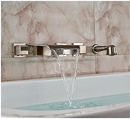 Amazoncom Gowe Brushed Nickel Wall Mount Bathtub Faucet Waterfall
