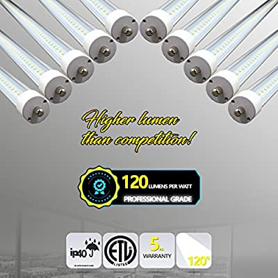 T8 LED Tube 8FT 44 Watt (x10 pcs) • 6500K • 5280 Lumens • Clear Lens • Professional/High Lumen Contractor Grade