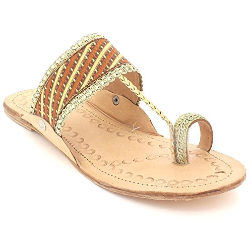 Kolhapuri Womens Casual Authentic Brown Open Shoes Leather Size Comfort Ladies Slip Sandals Flat Chappal LONDON Toe AARZ On xvSnIw