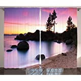 Purple Curtains Lake House Decor by Ambesonne, Golden Sandy Beach by the River with Fairy Sky Light Relax Simple Life Art Photo, Living Room Bedroom Decor, 2 Panel Set, 108W X 90L Inches, Purple Cream