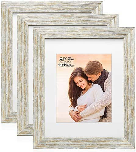 LaVie Home 8x10 Picture Frames with mat(3 Pack,White with Gold Lines Finished) Woodgrain Photo Frame with High Definition Glass for Wall Mount Display, Set of 3 Serendipity Collection