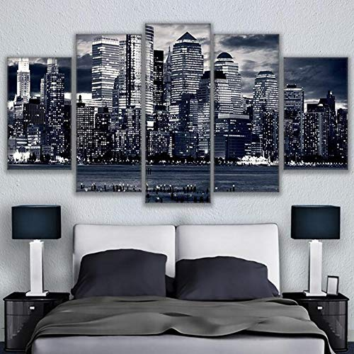 Bracket Cityscape Wall (IGHFVJFG 5 Piece Canvas Wall Art -Canvas Pictures Wall Art Living Room 5 Pieces Black White Chicago Cityscape Painting Home Decor HD Prints City Landscape Poster-Size3-Framed)