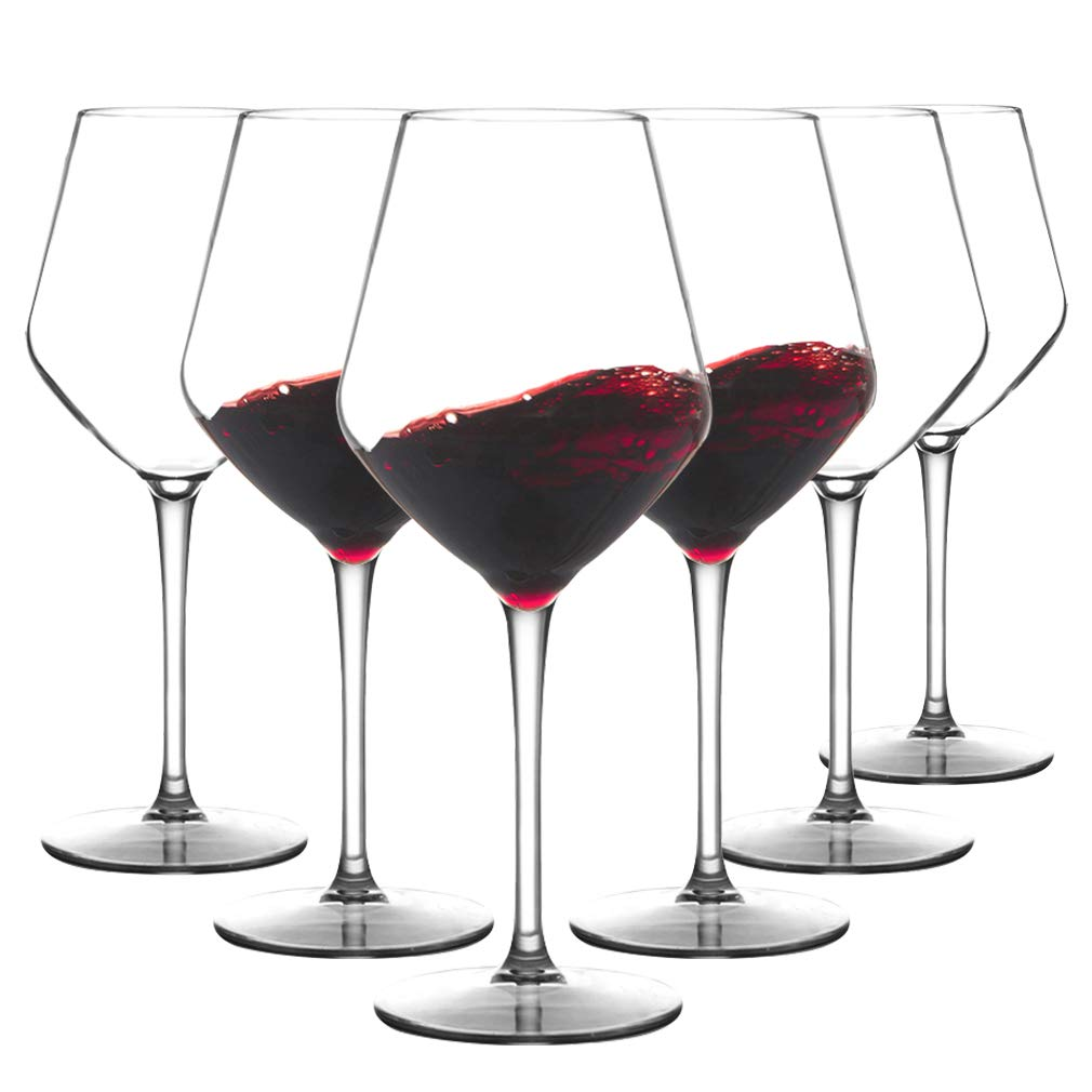 MICHLEY Unbreakable Stemmed Wine Glass 100% Tritan Plastic Dishwasher safe Glassware 15 oz, Set of 6