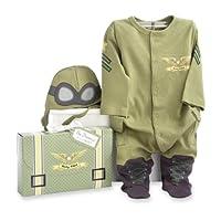 Baby Aspen, Big Dreamzzz Baby Pilot Juego de canastillas de dos piezas, Baby Onesie, Disfraz de Halloween recién nacido, Verde, 0-6 meses