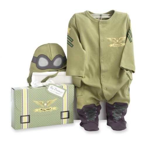(Baby Aspen, Big Dreamzzz Baby Pilot Two-Piece Layette Set, Baby Onesie, Newborn Halloween Costume, Green, 0-6)
