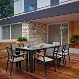 Modway Maine 9-Piece Aluminum Dining Table And Chair Outdoor Patio Set in Brown Gray