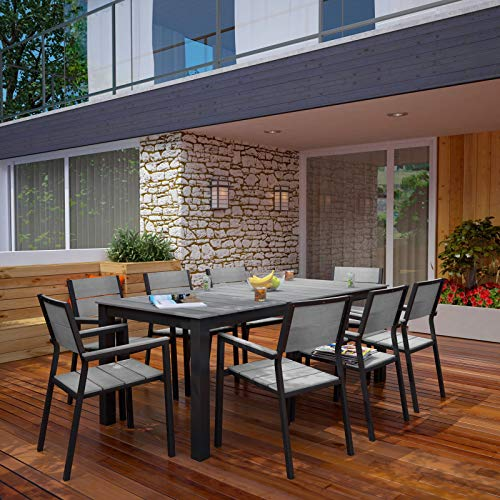 Modway Maine 9-Piece Aluminum Dining Table And Chair Outdoor Patio Set in Brown - 9 Patio Set Piece