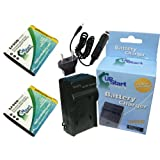 2x Pack - Pentax D-LI92 Battery + Charger with Car & EU Adapters - Replacement for Pentax NP-150 Digital Camera Battery and Charger (1000mAh, 3.7V, Lithium-Ion)
