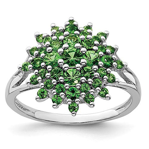 925 Sterling Silver Tsavorite Red Garnet Band Ring Size 9.00 Gemstone Fine Jewelry Gifts For Women For Her