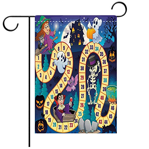 (BEICICI Garden Flag Double Sided Decorative Flags Board Game Halloween Theme Symbols Happy Witch Girl Vampire Ghost Pumpkins Happy Comic Multicolor Best for Party Yard and Home Outdoor)