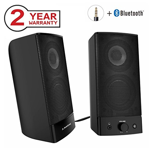 Avantree Desktop Bluetooth Computer Speakers, Wireless & Wired 2-in-1, Superb Stereo Audio, AC Powered 3.5mm / RCA Multimedia External Speakers for Laptop, PC, Mac, TV - SP750 [2 Year Warranty] - Multimedia Pc Laptop