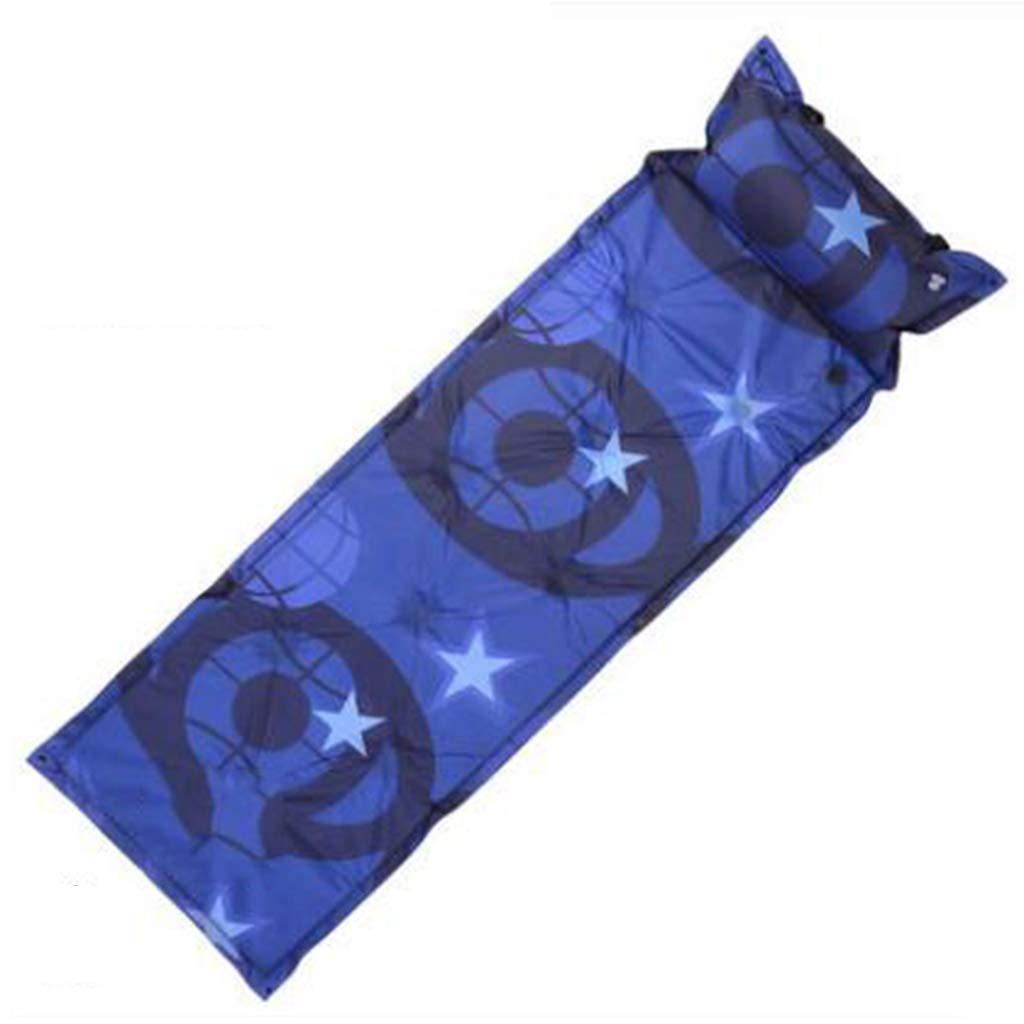 LYLLB-Air bed AußEnluft Bett Automatische Aufblasbare Kissen Feuchtigkeits-Pad Einzelnen Schlafen Pad Punkt Design Blau Star Element 183x55 cm
