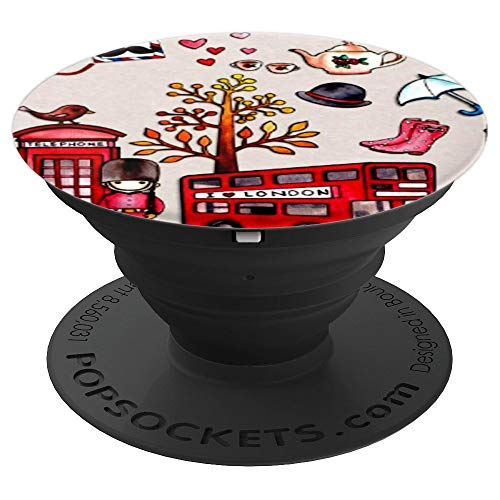 - London decoupage collage retro red bus souvenir gift - PopSockets Grip and Stand for Phones and Tablets
