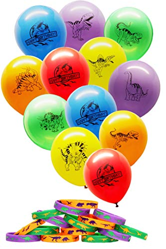 (Gypsy Jade's Dinosaur World Jurassic Style Balloons and Wristbands Combo Pack)