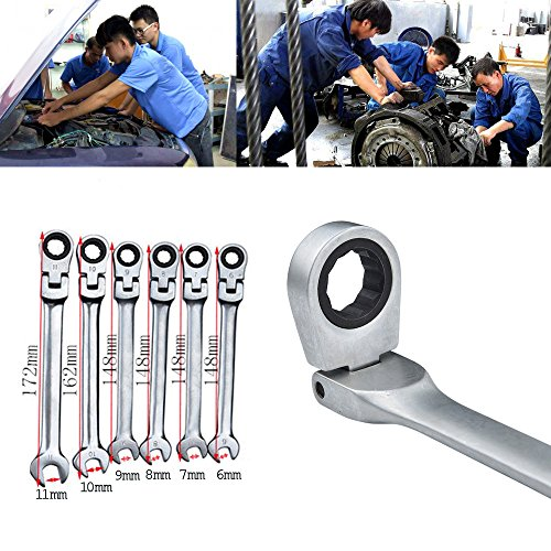Hongxin 6-11mm Open-Ring Spanners Ratcheting Combination Hand Tool Wrench Kit Reversible Combination Stubby Ratchet Wrench Ratcheting Socket Spanner Repairing Home Garden Spanner Nut Tool (11MM)