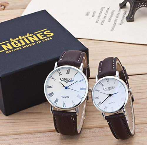 - Clothful  Clearance on Sales  2pcs Fashion Couple High Gloss Glass Leather Belt Watch Set Contains Box