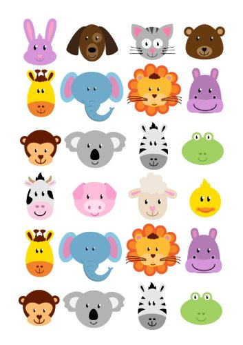 24 animal faces cartoon cake toppers 4cm on wafer rice paper amazon 24 animal faces cartoon cake toppers 4cm on wafer rice paper amazon kitchen home voltagebd Images