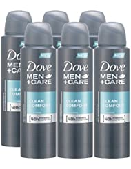 Dove Men + Care Clean Comfort Spray Deodorant & Anti-Perspirant 150ML / 5.07 Oz,(6 Pack)