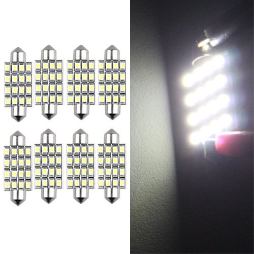 2 opinioni per CARCHET® 8 LAMPADINE SILURO 16 LED SMD BIANCO LUCI INTERNO 42MM